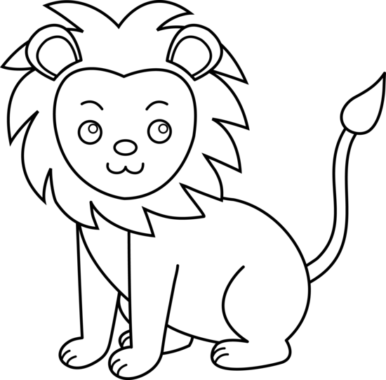 Line Drawings Of Baby Animals : Lion clip art black and white clipart panda free
