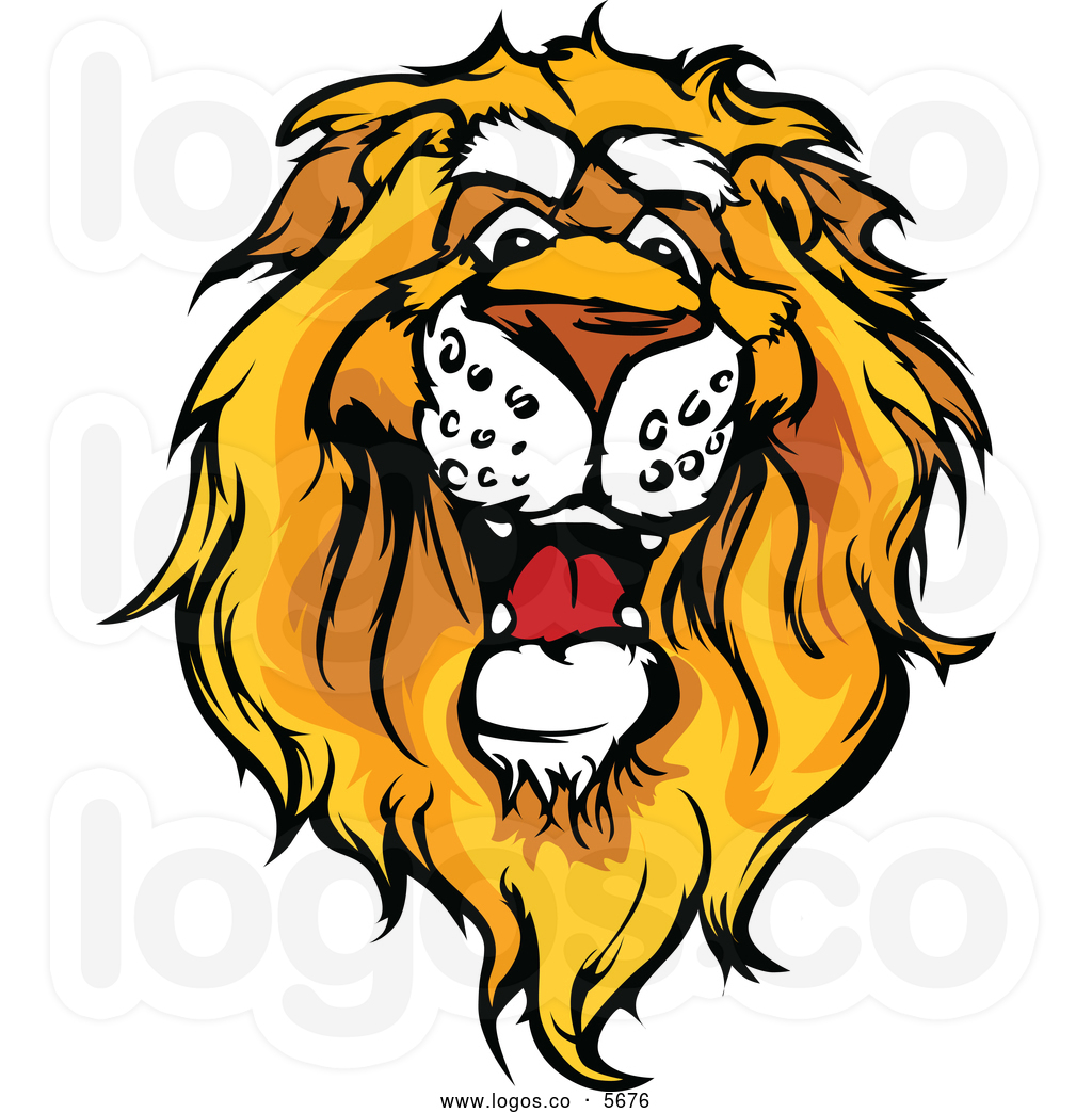 Cute lion head clipart royalty free vector of a logo of a friendly