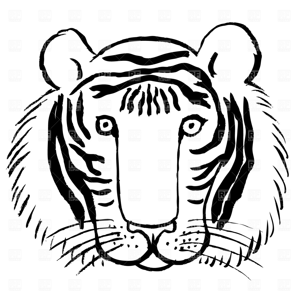 Tiger face clip art color clipart panda free clipart for Free tiger coloring pages