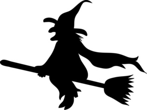 Halloween Witch On Broom Clip Art