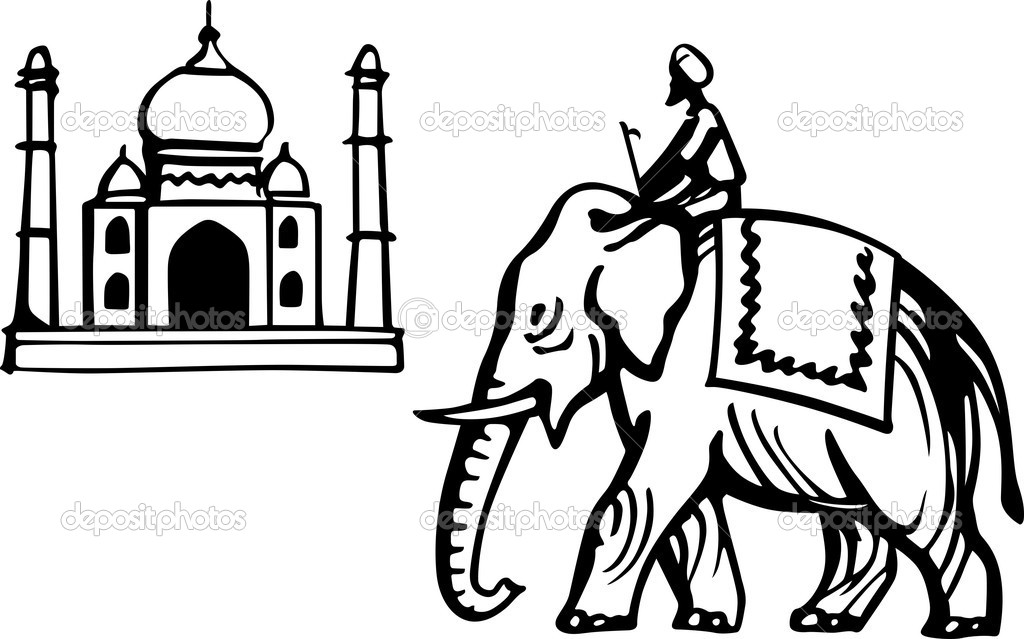 Taj Mahal Line Drawing Easy : Indian elephant drawing outline clipart panda free