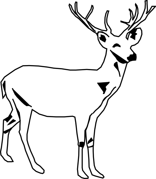 Deer illustration black and white - photo#4