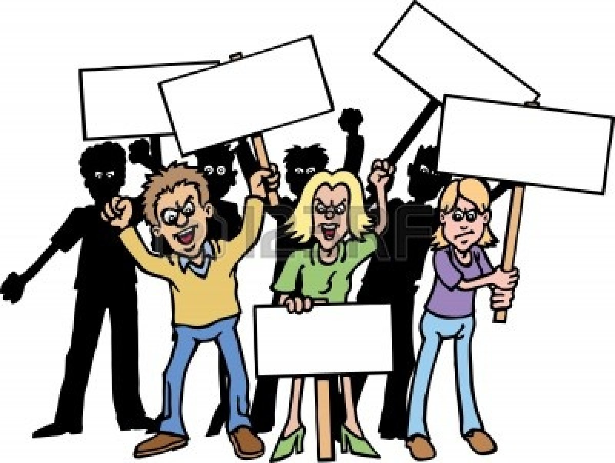 Angry group of people clipart