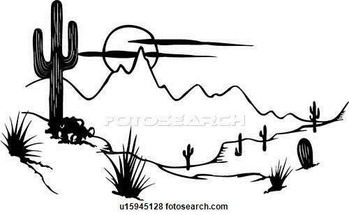 Southwestern Landscape Clip Art Line Art