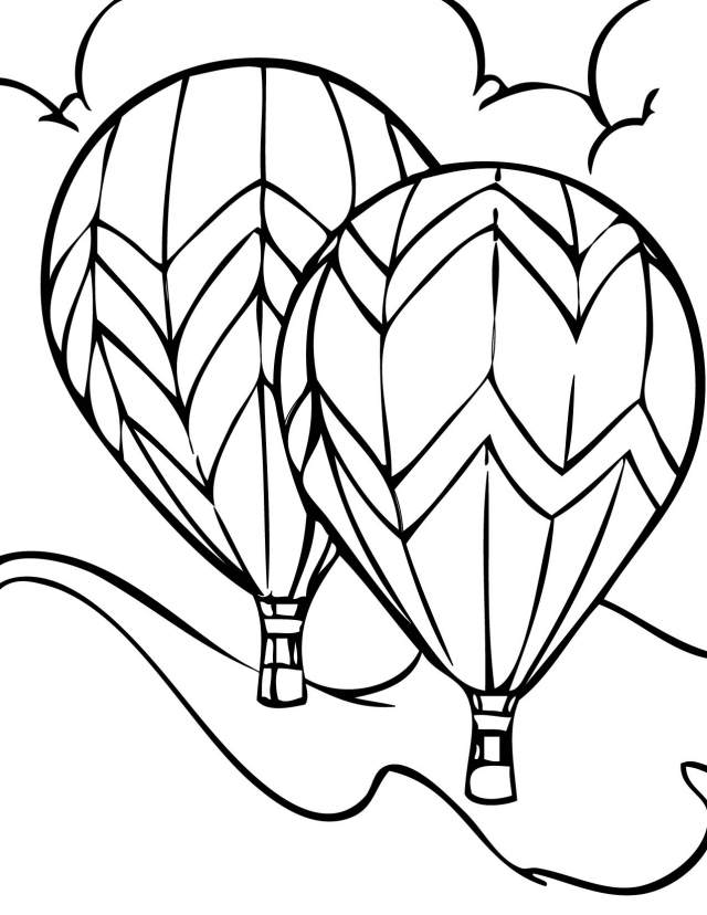 Detailed Hot Air Balloon Coloring Page