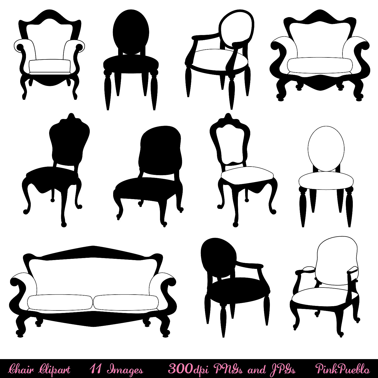 Antique chair silhouette - Dining 20table 20clipart 20black 20and 20white