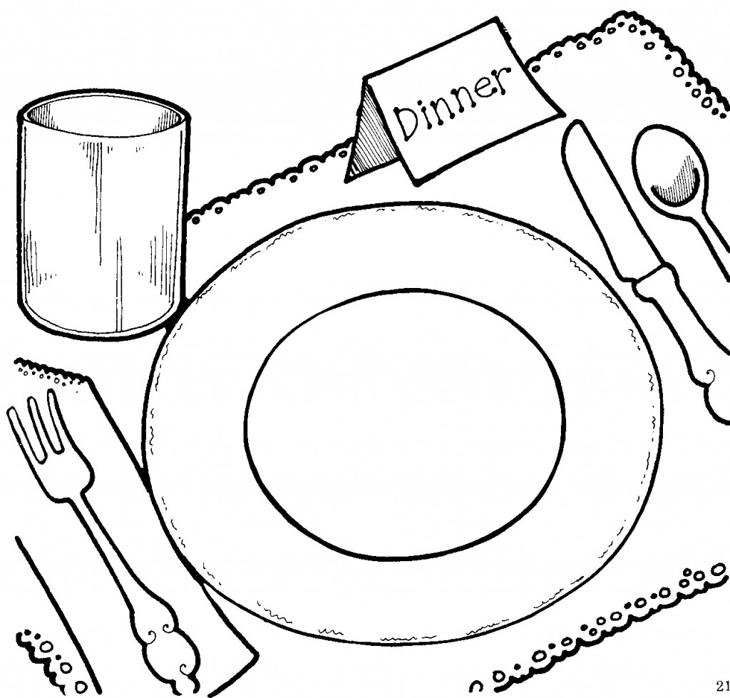 Dinner clipart clipart panda free clipart images for Dinner coloring pages