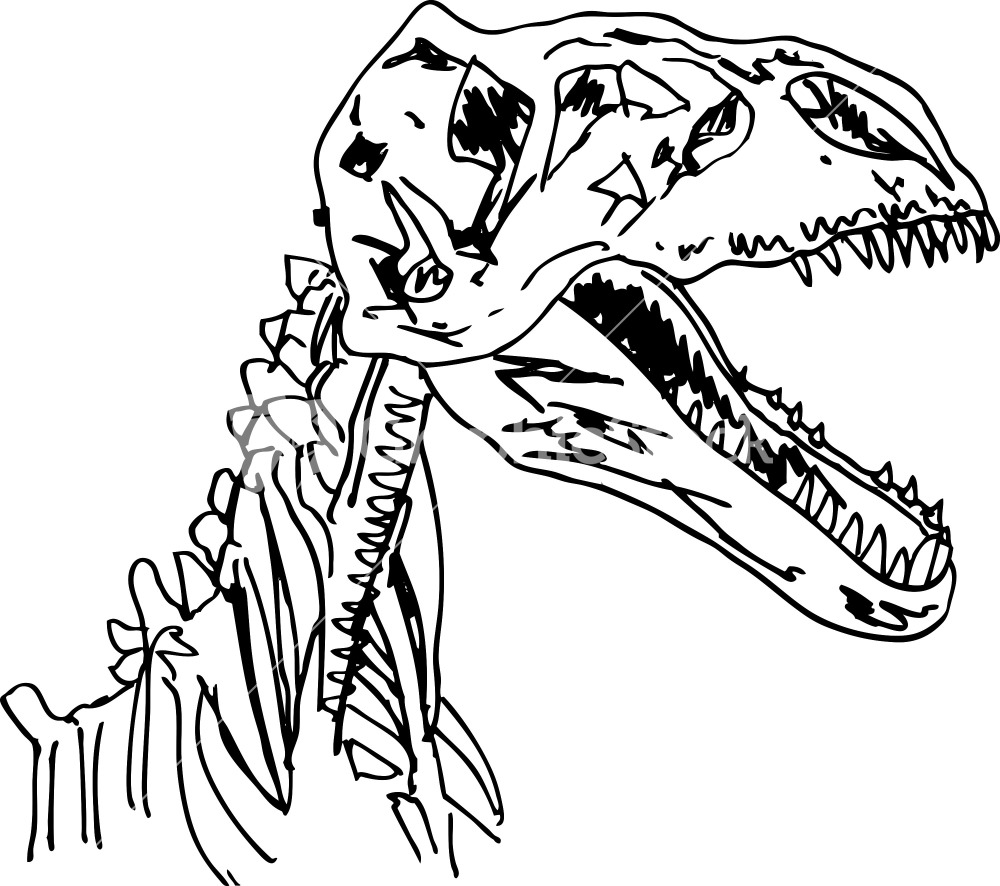 Coloring pages of dinosaur fossils - Dinosaur 20fossil 20drawing