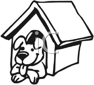 dog%20house%20clipart%20black%20and%20white