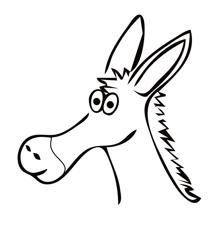 Line Drawing Donkey : Donkey clipart black and white panda free