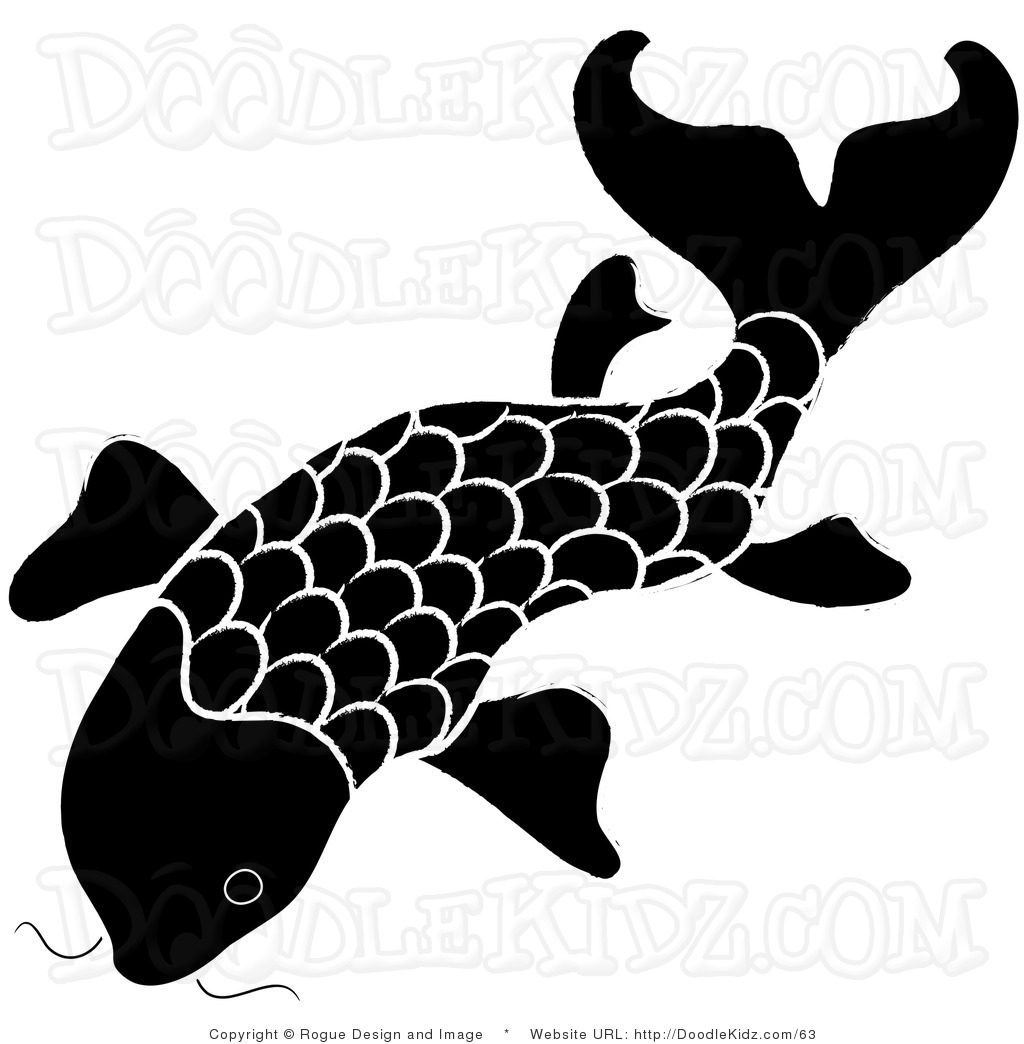 Image gallery japanese fish clip art for Black white koi