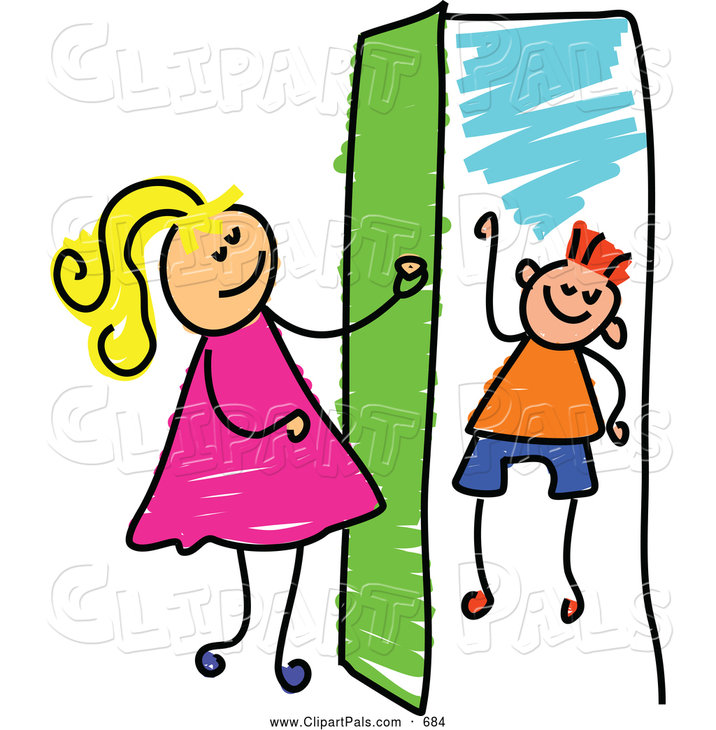 Door clip art pal clipart of a cheerful girl opening a door to a boy