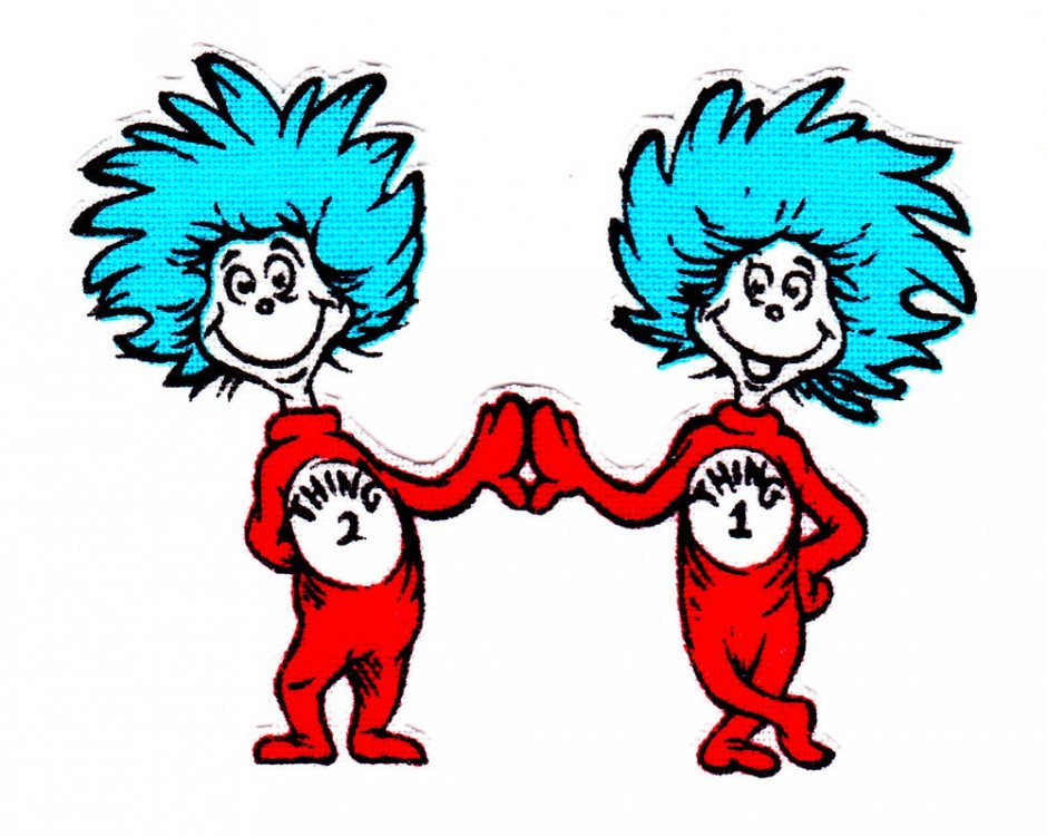 graphic about Thing 1 and Thing 2 Logo Printable called Dr Seuss Coloring Internet pages Matter 1 And Factor 2 Clipart Panda
