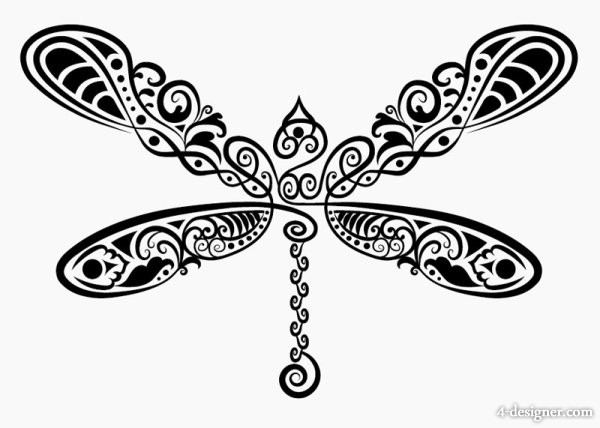 Line Drawing Animal Tattoos : Dragonfly silhouette clipart panda free images