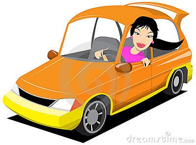 Woman Driving Car Clip Art
