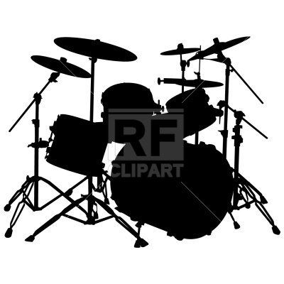 drum 20set 20clipart 20black  White Drum Set Silhouette