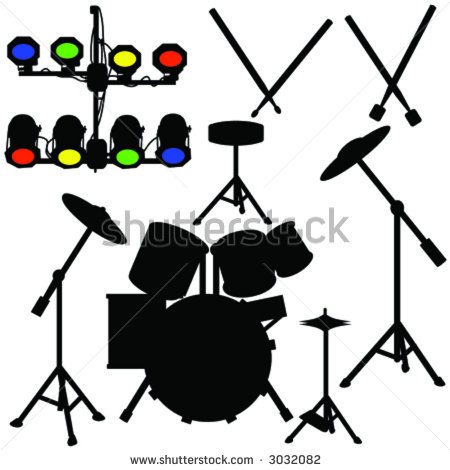 Drum Set Clipart Black And White | Clipart Panda - Free Clipart Images