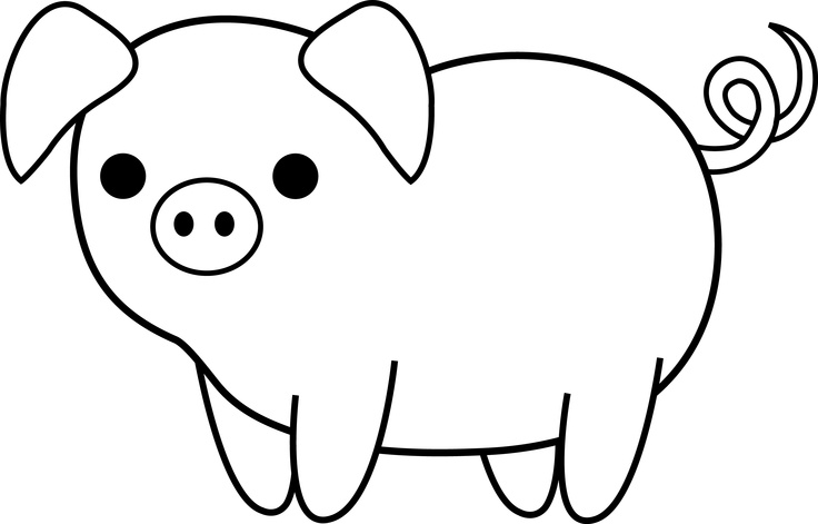 Clipart Animal Simple Line Drawing : Pig clipart black and white panda free
