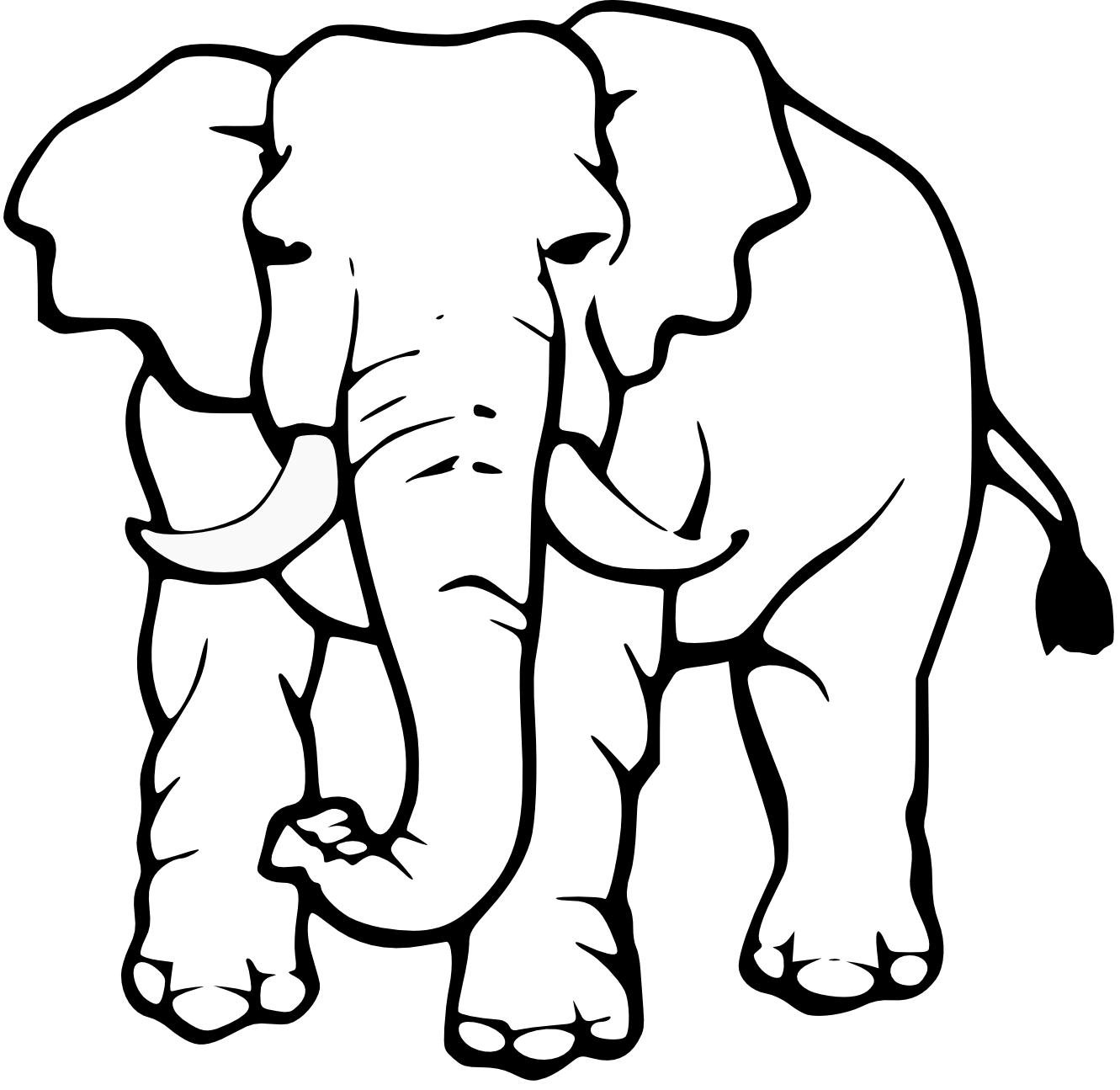 Elephant Clipart Black And White on head painting