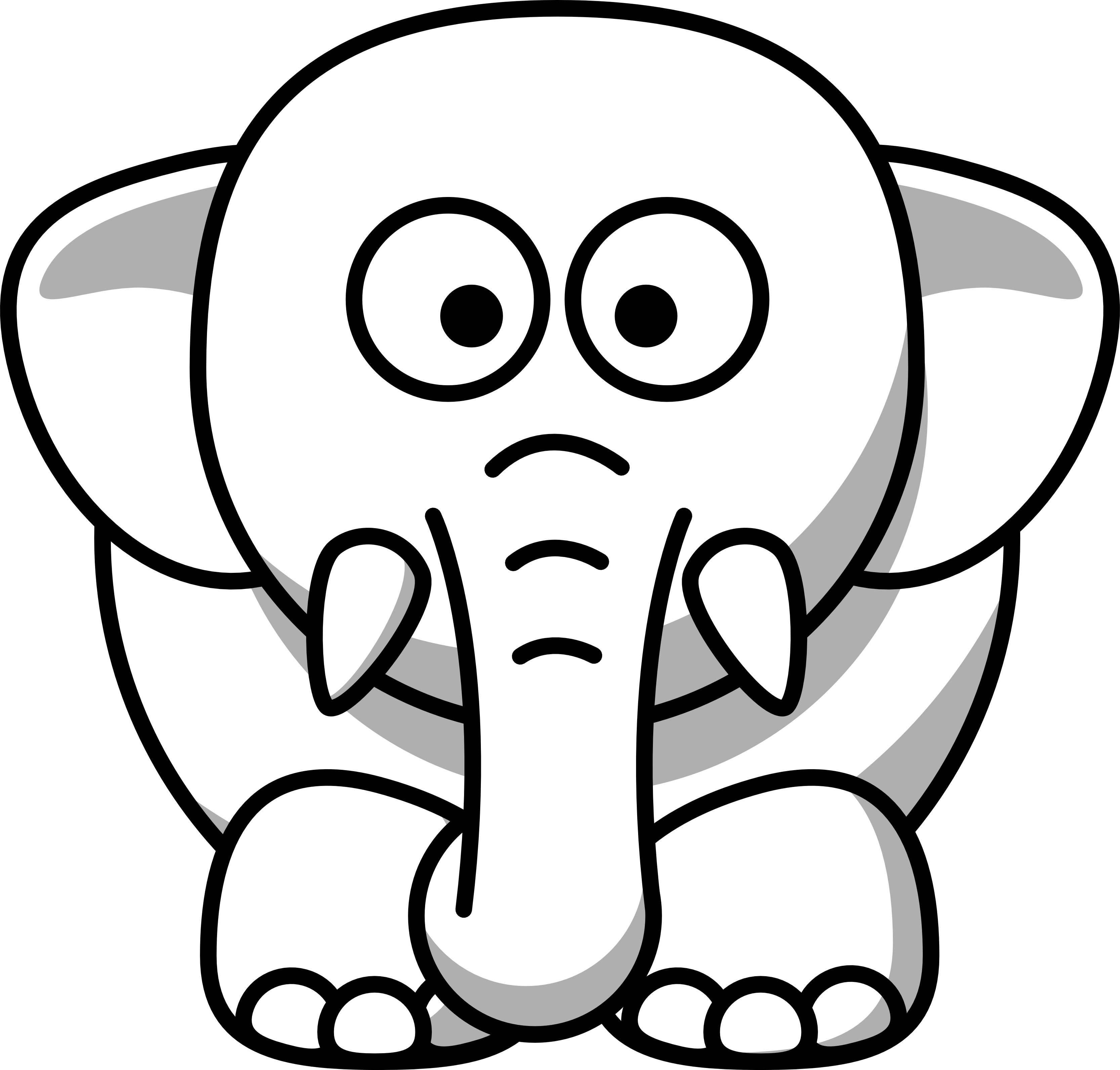 Line Drawing Of Elephant : Elephant head clipart black and white panda