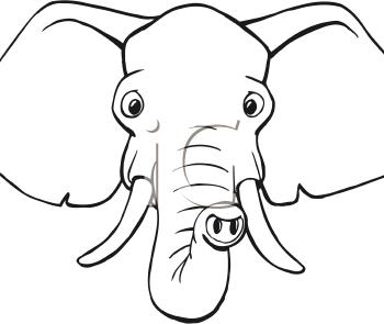 elephant face clipart outline - photo #7