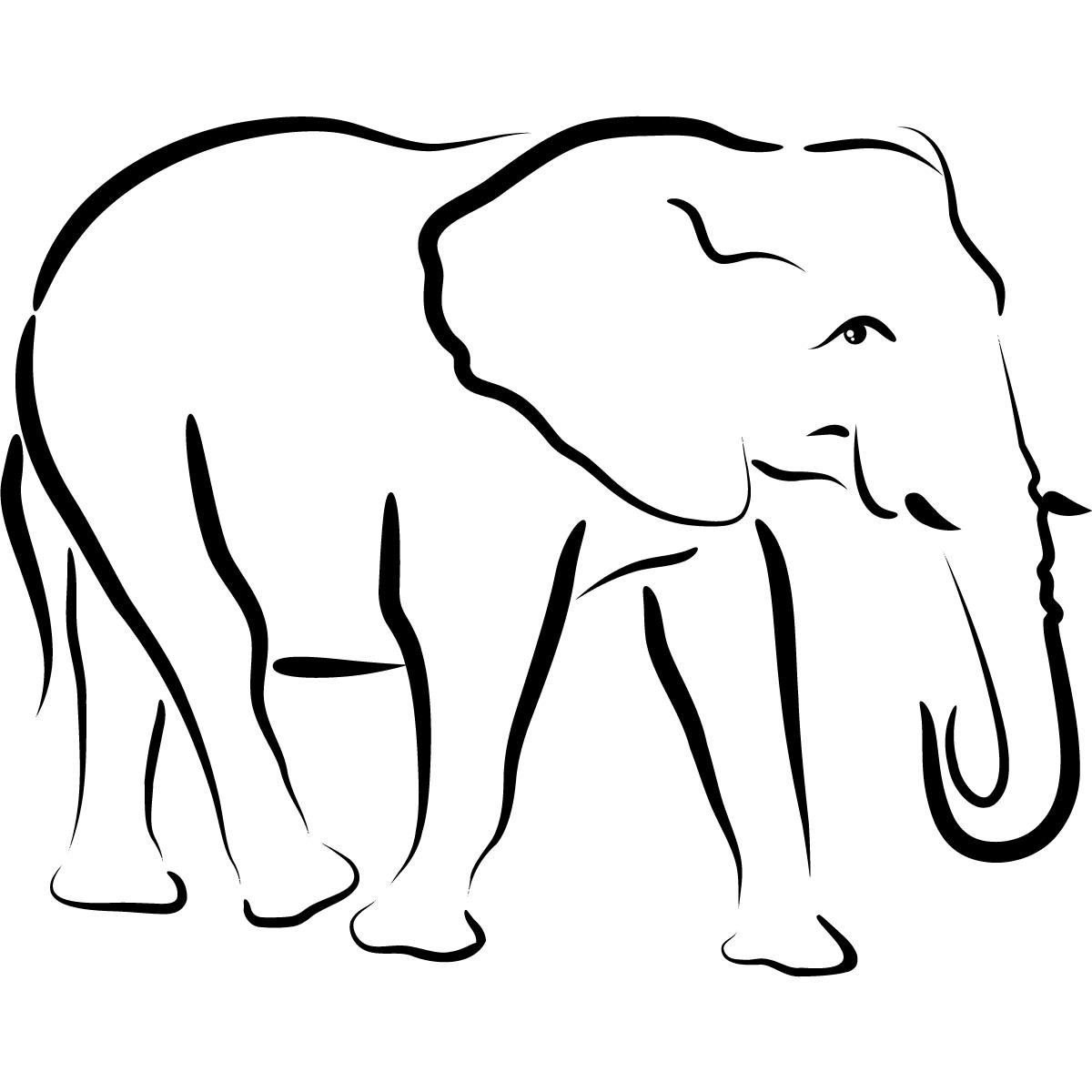 Line Drawing Elephant Head : Elephant head outline clipart panda free images