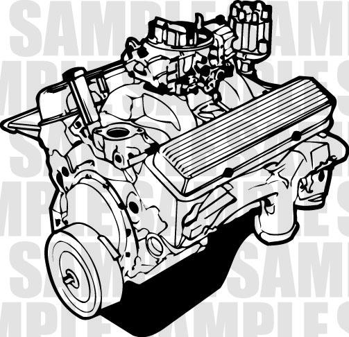 V8 Engine Clipart Chevy V8 Engine Clip A...