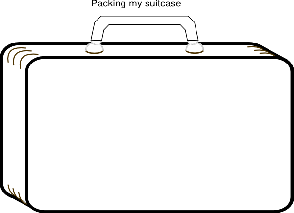 Colorless Suitcase clip art