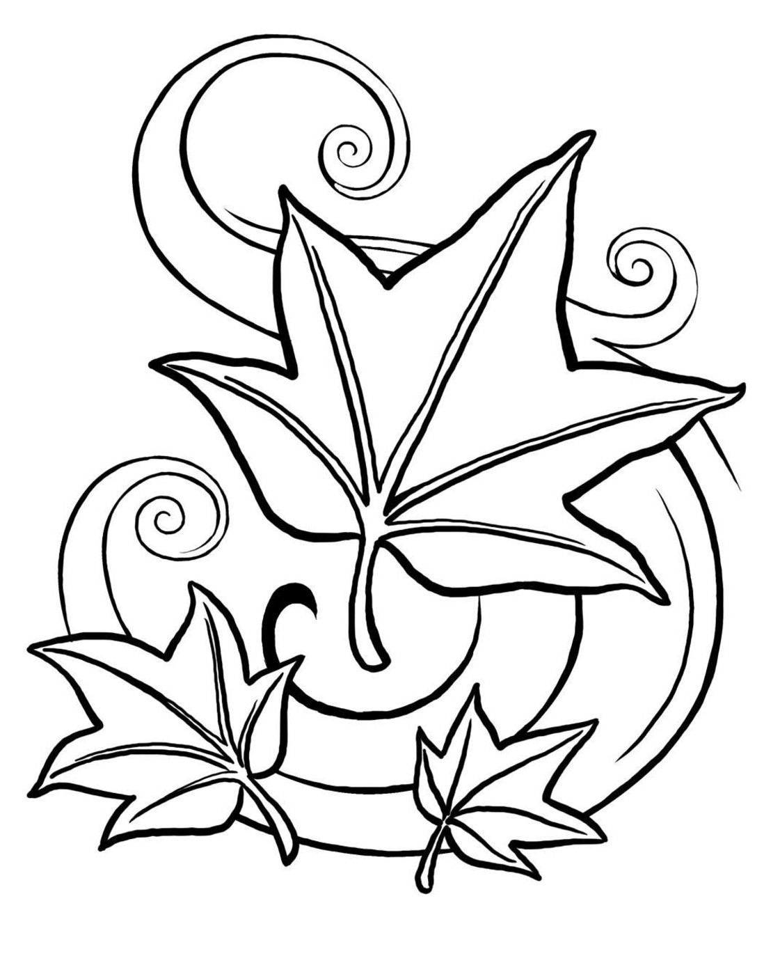 Fall leaves coloring pages clipart panda free clipart for Coloring page of leaves