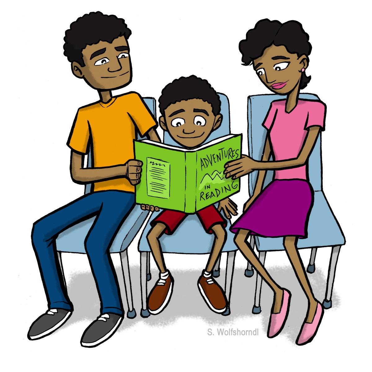 Parents Children Reading Clip Art ...