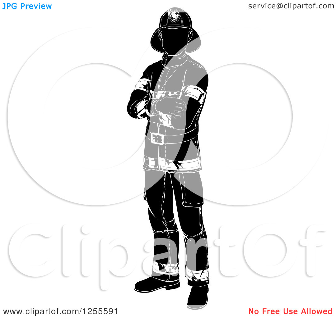 firefighter black and white | clipart panda - free clipart images