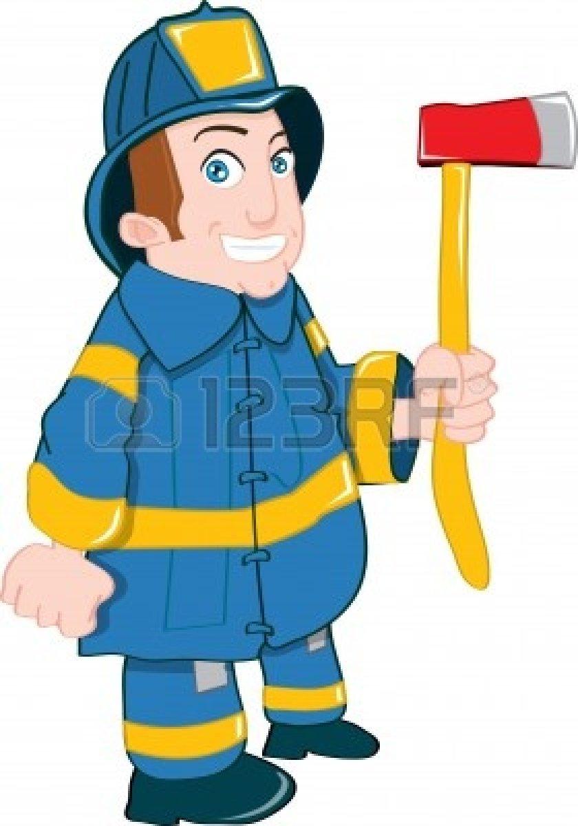 Cartoon fireman with axe.
