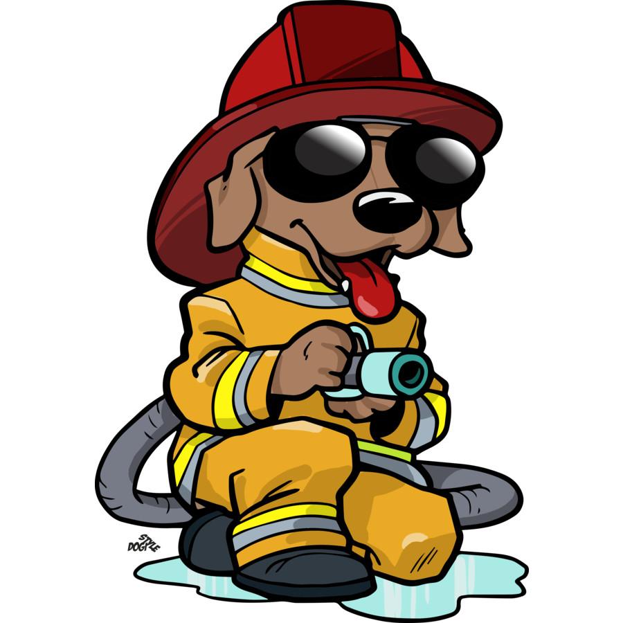 Firefighter cartoon dog