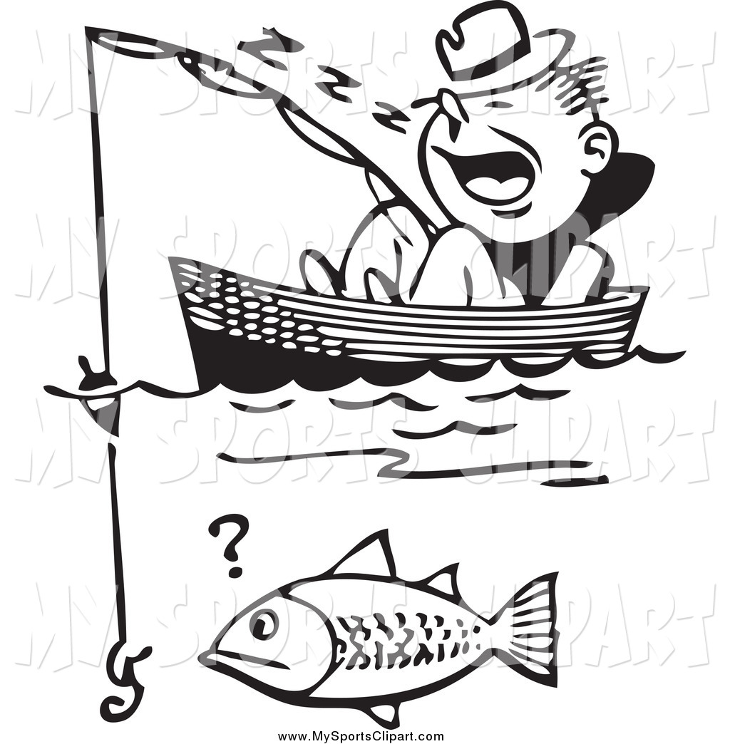 Fishing boat clip art black and white