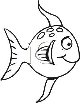 cartoon black and white fish