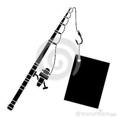 Fishing pole black and white clipart panda free for White fishing rod