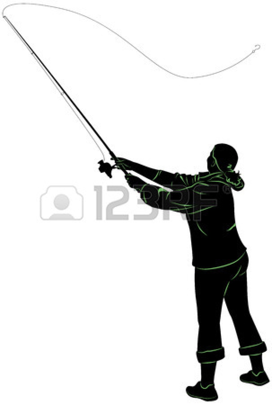 Silhouette of a woman casting clipart panda free for Batman fishing pole
