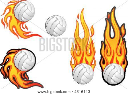 Volleyball on fire clipart