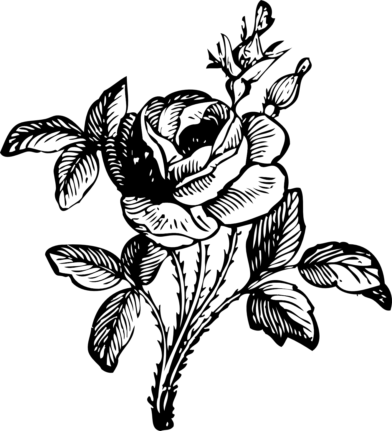 Line Art Flower Png : Flower bouquet clipart black and white panda