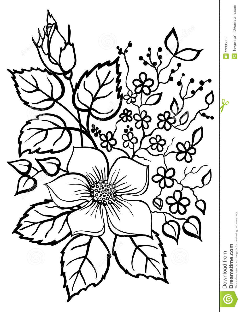 Line Drawings Of Flower Arrangements : Flower bouquet outline clipart panda free