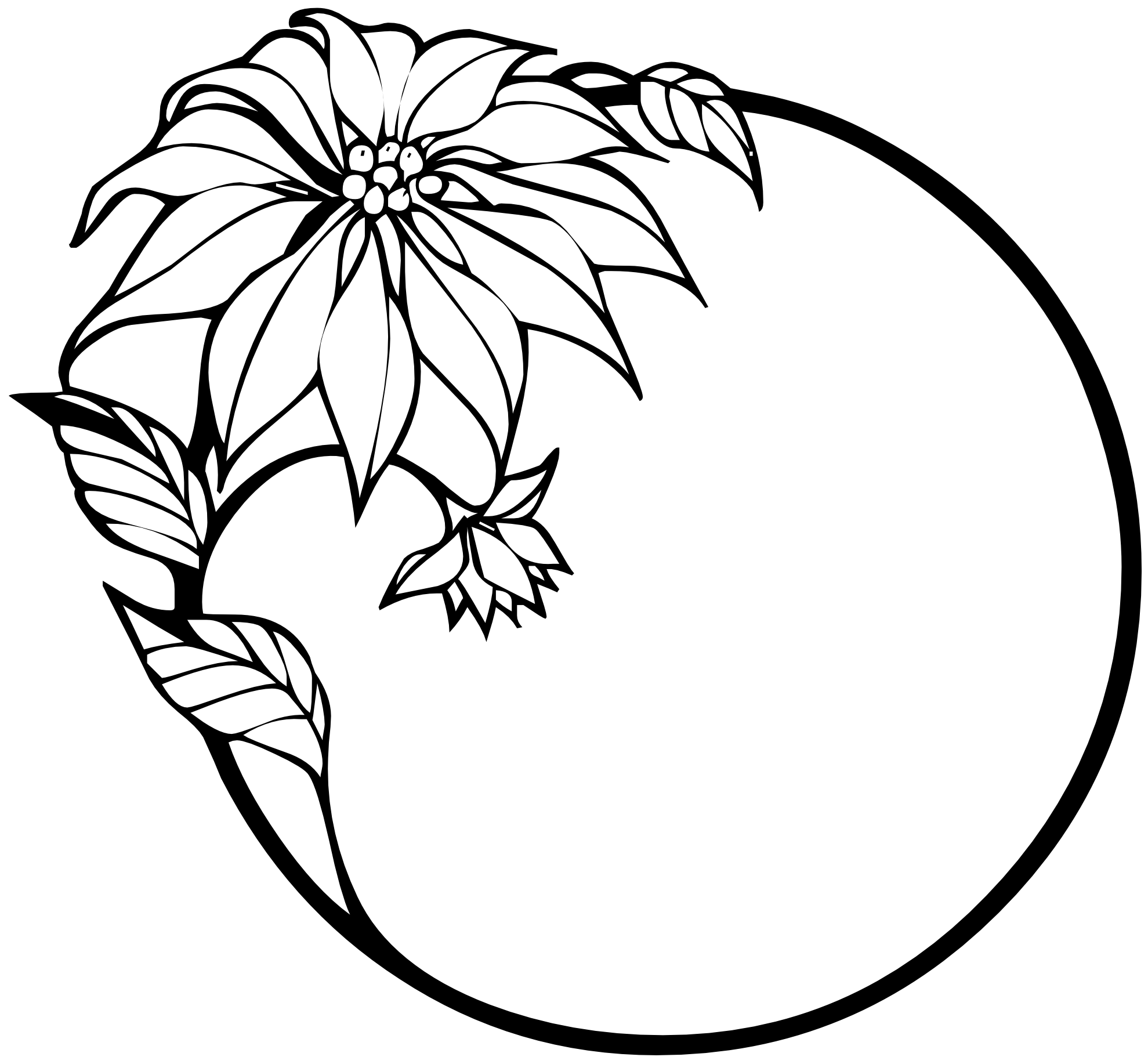 Flower Circle Line Drawing : Flowers clipart black and white panda free