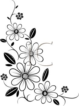 Flower black and white border. Clipart panda free