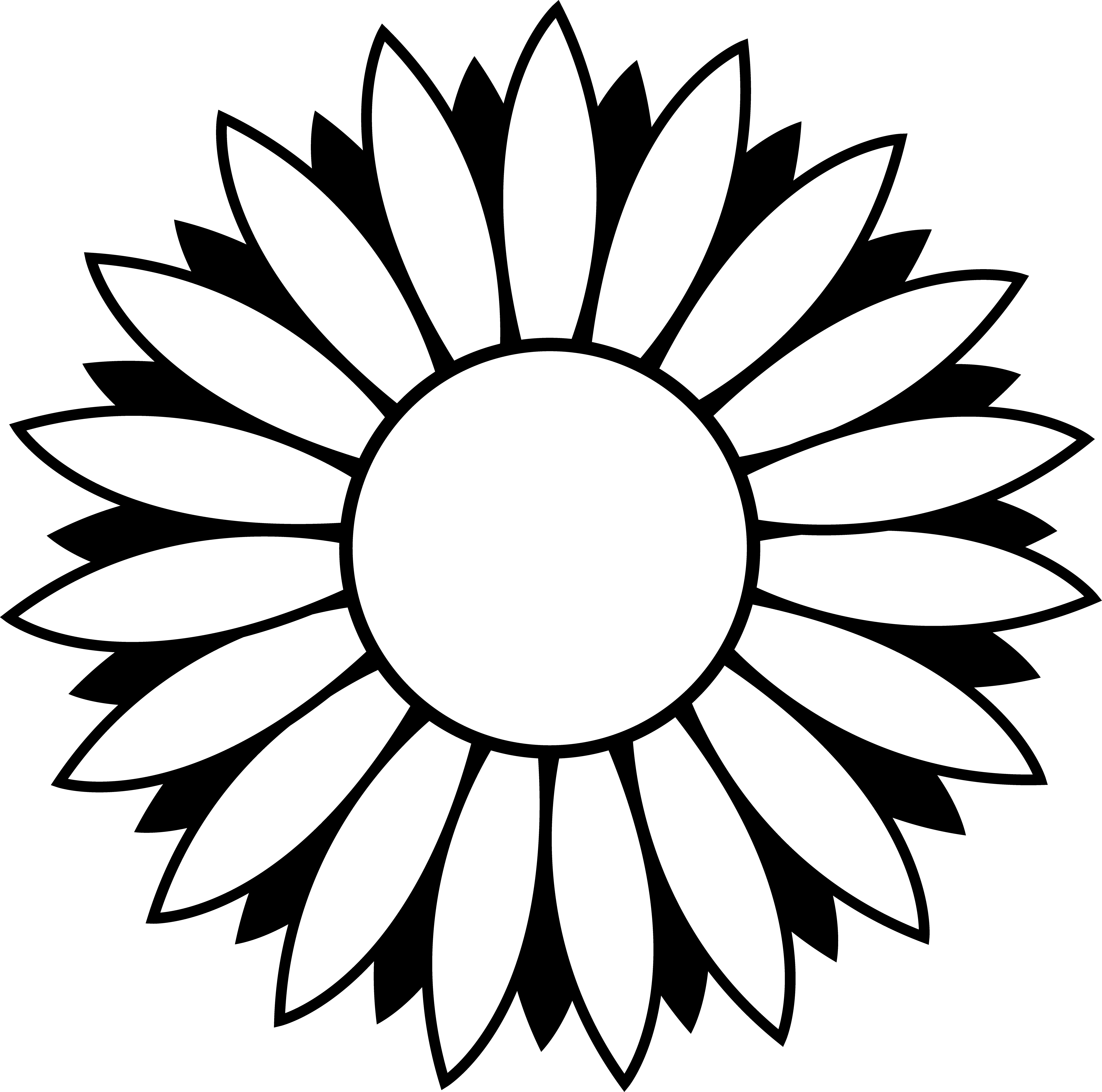 Flower Circle Line Drawing : Flower clip art outline clipart panda free images