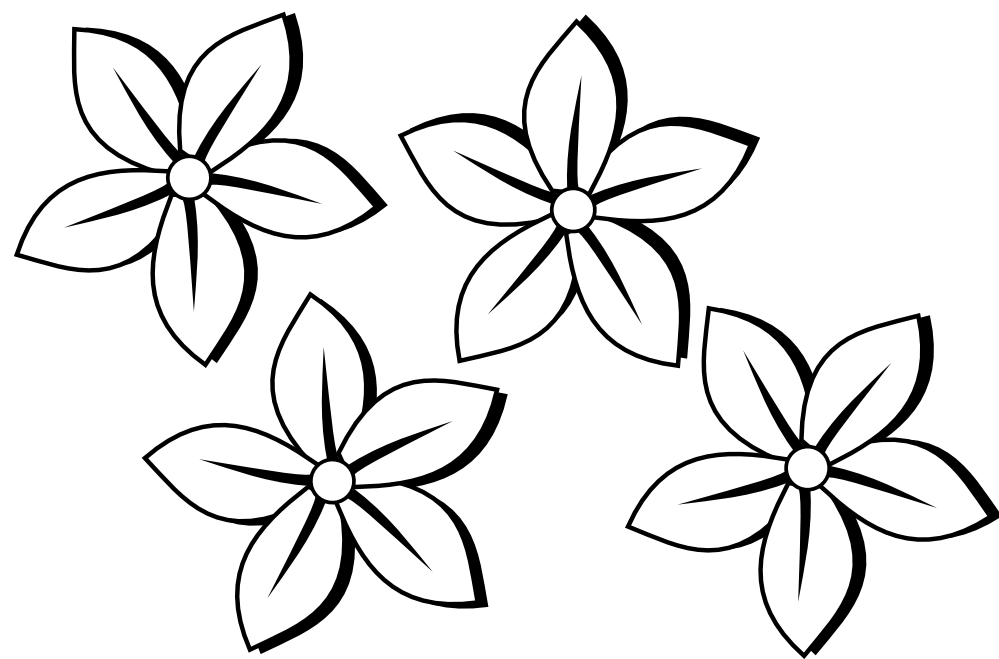 Black Line Flower Drawing : Flowers clipart black and white panda free