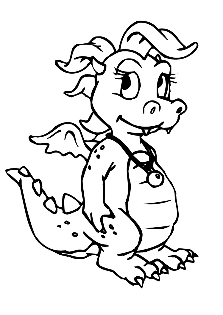 dragon coloring pages realistic girls - photo#13