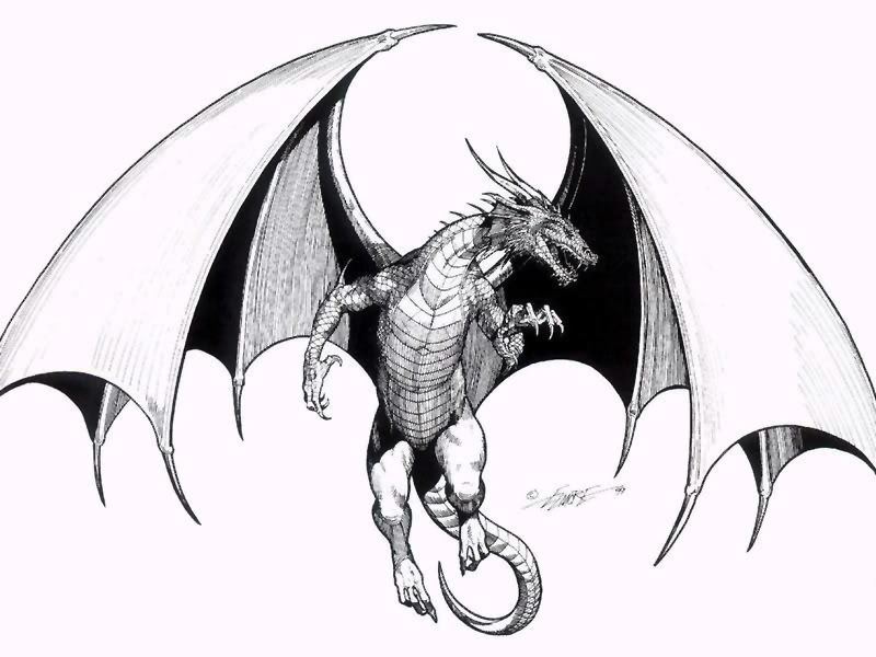Flying dragon sketch clipart panda free clipart images - Aile de dragon dessin ...