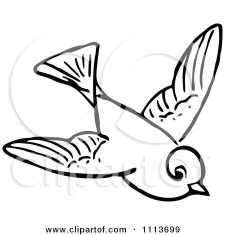 Vintage Bird Art Black And White flying 20owl 20clipart 20black
