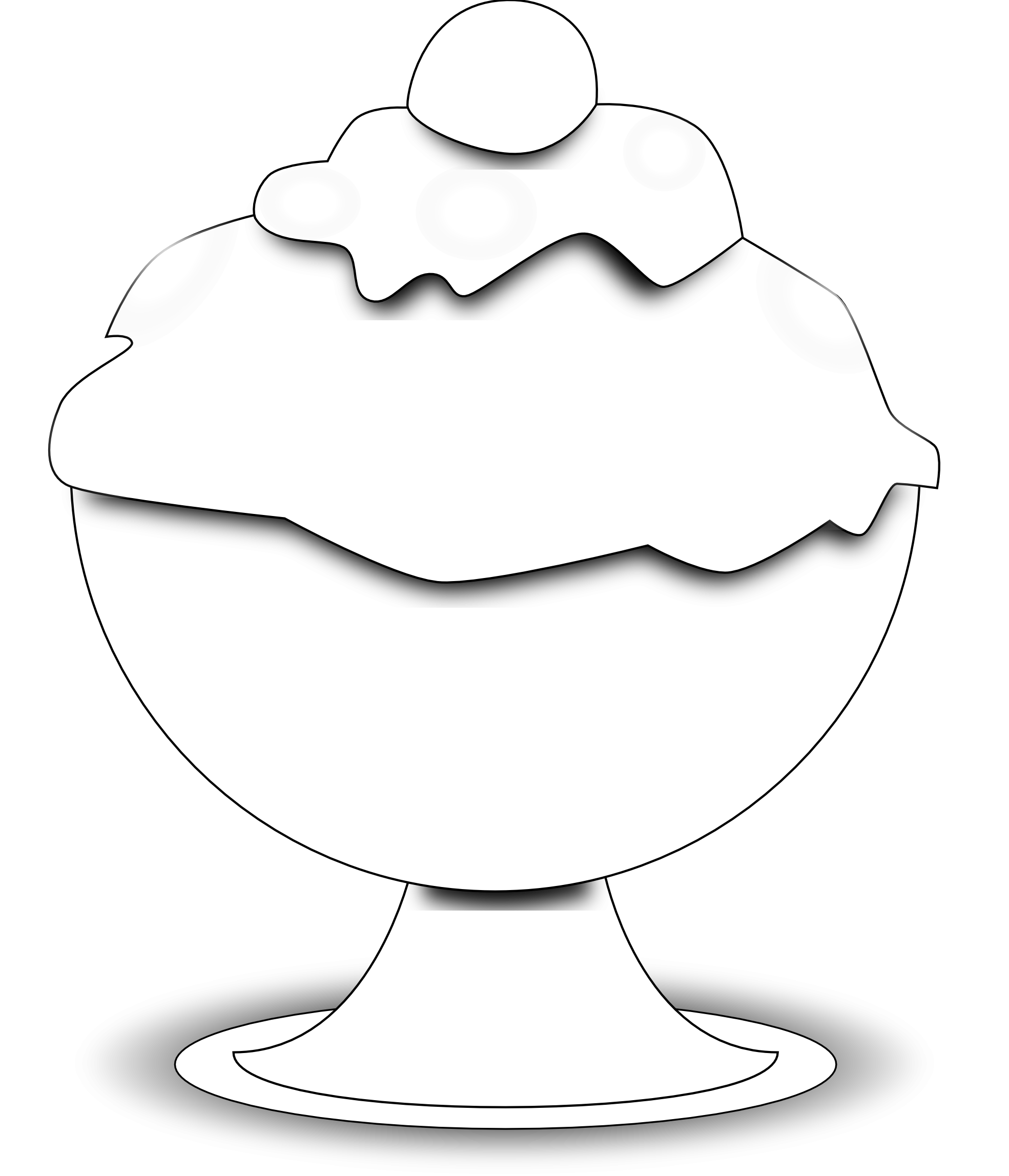 Food Ice Cream Black White | Clipart Panda - Free Clipart Images for Bowl Of Ice Cream Clipart Black And White  131fsj