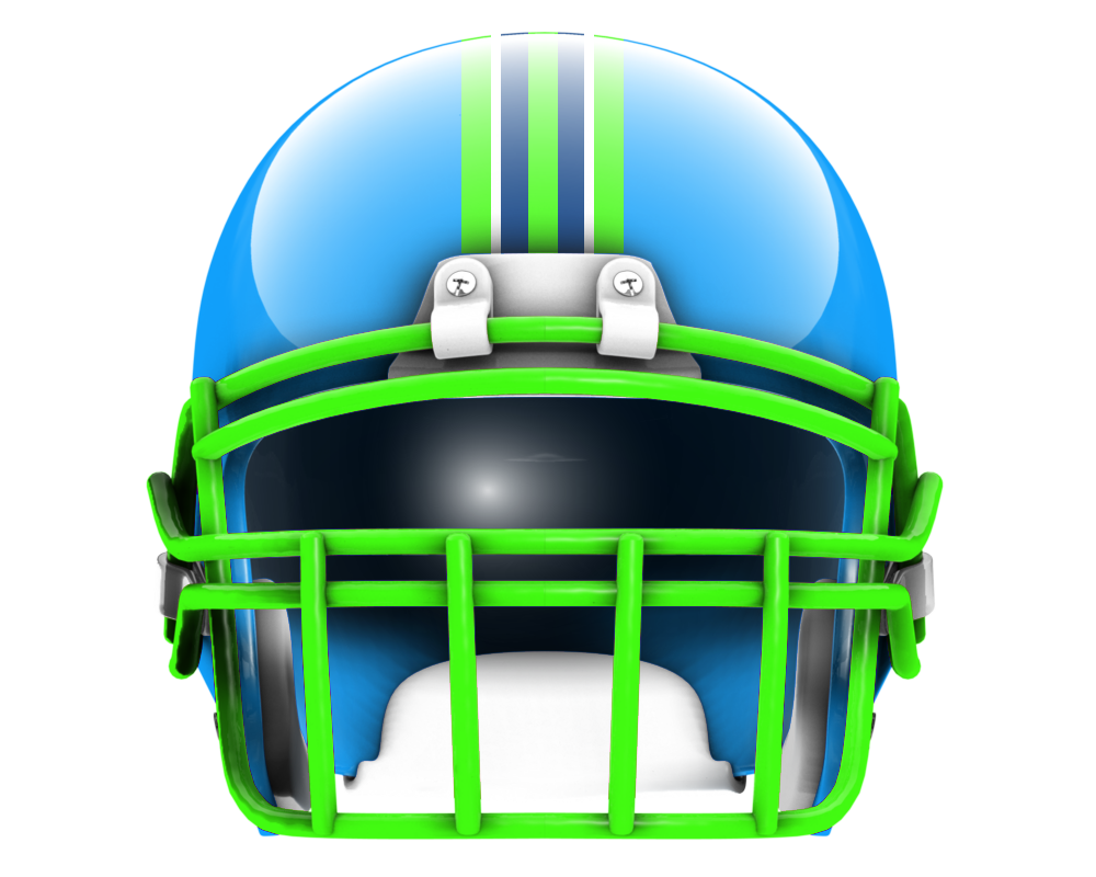 Football helmet front drawing