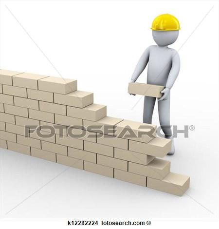 3d Man Building Brick Wall